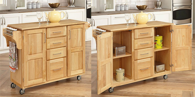 Rolling Kitchen Bar with Fold-Up Table and Natural Wood Finish