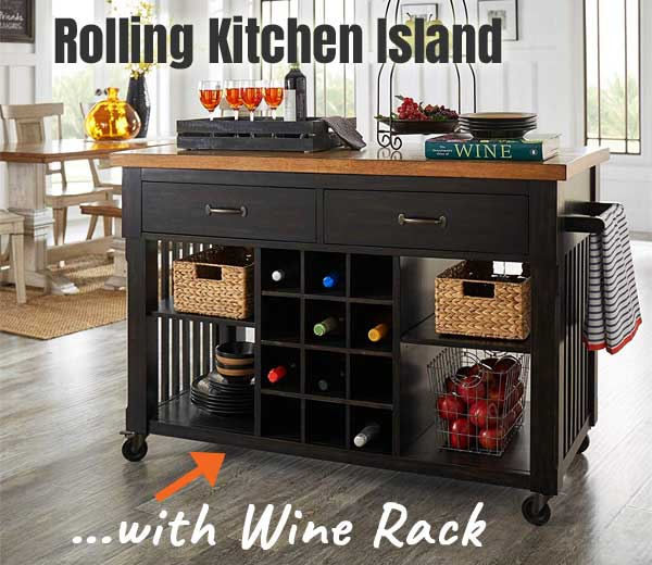 Rolling Kitchen Island with Wine Rack