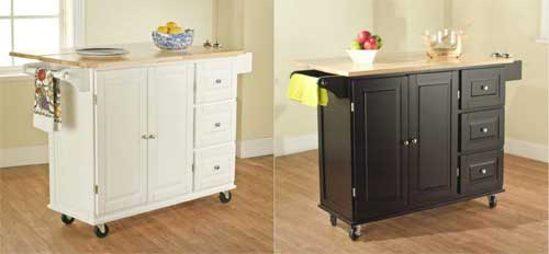 Rolling Kitchen Islands in Black or White