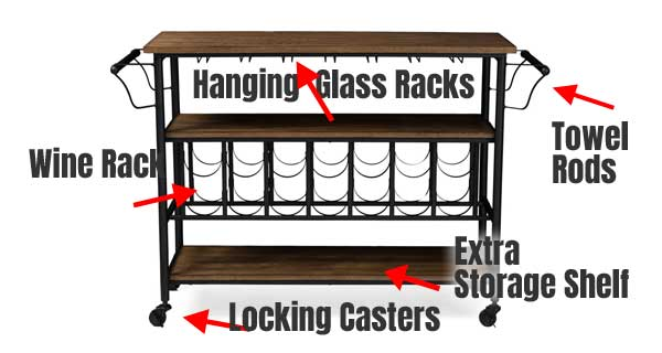 Rolling Wine Cart with Hanging Glass Rack, Towel Rods and Storage Shelves