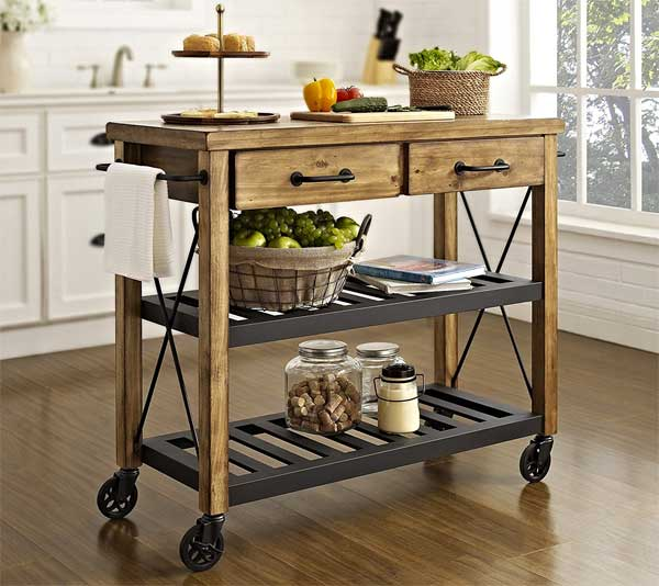 Crosley Furniture Roots Rack Kitchen Cart with Metal Racks and Casters