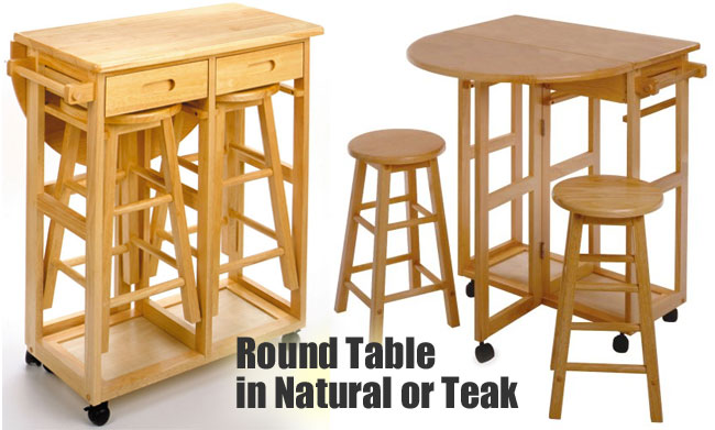 Round Kitchen Island Cart with Stools in Teak or Natural Finish