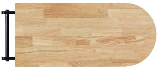 Butcher Block Style Rubberwood Cutting Board on Top of Rolling Kitchen Cart