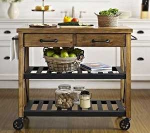 Industrial-Style Rustic Kitchen Cart made of natural pine wood and powder coated steel