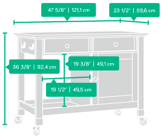 Dimensions of the Sauder Mobile Kitchen Island