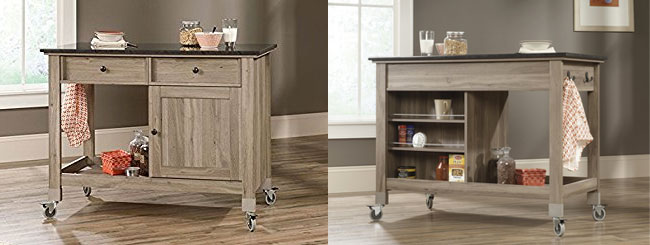 Sauder Mobile Kitchen Island, Front and Back Views