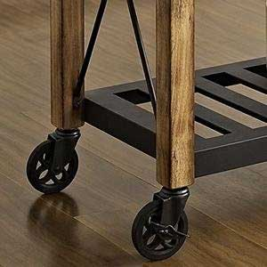 Slatted Steel Shelf on Rustic Kitchen Rolling Cart