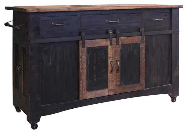 Weathered Black Farmhouse Style Barn Door Kitchen Island on Casters
