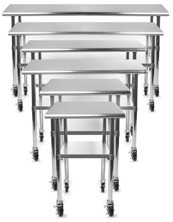 7 Size Options for Stainless Steel Kitchen Prep Table