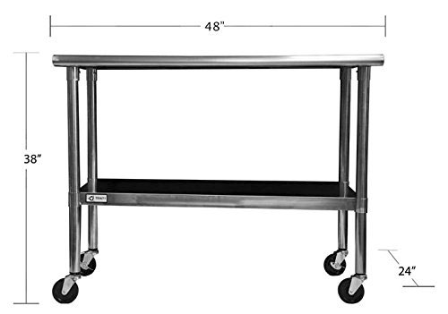 Rolling Stainless Steel Table Dimensions with Casters