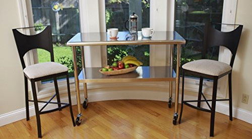 Stainless Steel Table on Wheels in Kitchen Nook