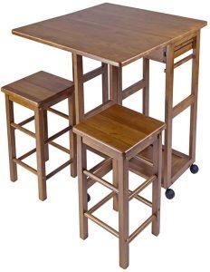 Teak Kitchen Island Cart with Stools