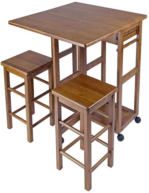 Teak Kitchen Island Cart with Stools