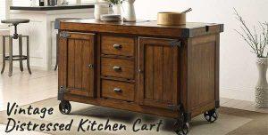 Vintage Distressed Kitchen Cart on Metal Wheels