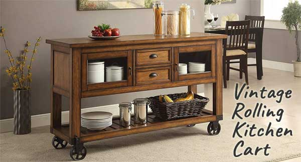 Vintage Rolling Kitchen Cart with Distressed Wood