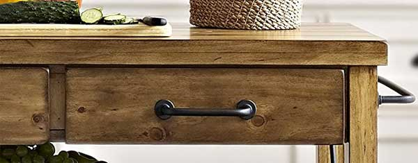 Close-up of Weathered Wood Drawer on Roots Rack Rolling Kitchen Cart