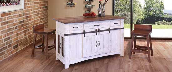 White Weathered Barn Door Rustic Kitchen Island Without Wheels