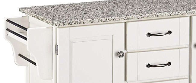 Close Up Of White Kitchen Island With Granite Top Hardware Side Racks Tabletop