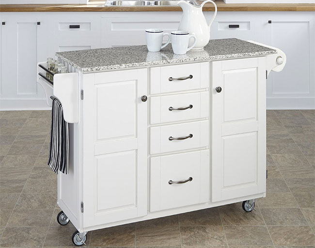 rolling white kitchen island with granite top - Kitchen Island On Wheels
