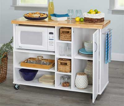White Microwave Cart on Wheels
