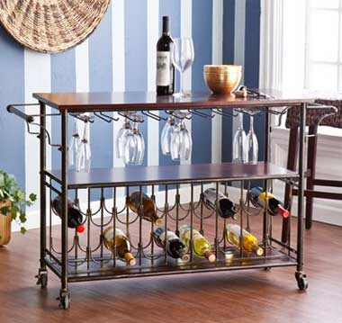Wine Bar Cart with Storage Racks for Glasses and Bottles