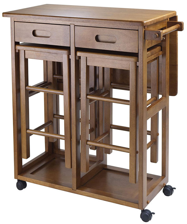 Winsome Kitchen Island Cart With Stools In Teak Finish