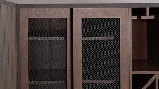 Wire Mesh Sliding Doors on Mobile Buffet Cabinet on Caster Wheels