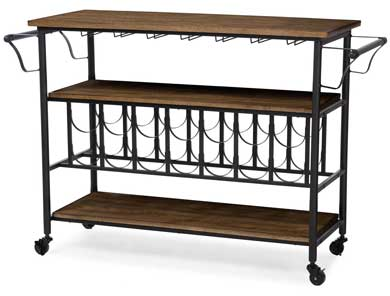 Wood and Metal Wine Cart on Casters